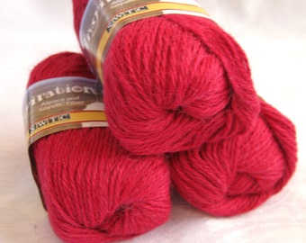 Brilliant RED alpaca blend yarn, worsted weight,  SWTC Inspiration  Music (390)
