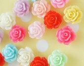 Assorted 8 pairs (16 pcs)  Spring Color Rose Flower Cabochon  - FL389