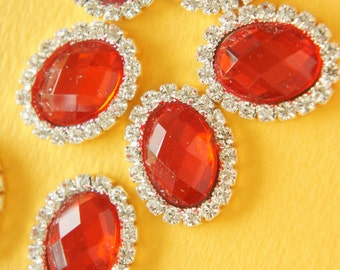 3 pcs Oval Gorgeous Acrylic Rhinestones  (20mm25mm) Red AZ041 (((LAST)))