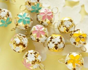 10 pcs Assorted Colors Sakura/Cherry blossom Bell Charm AZ129