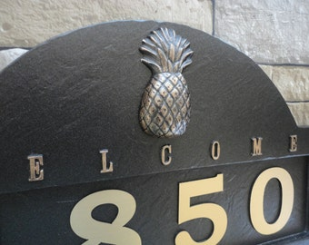 Tropical Pineapple ADDRESS PLAQUE  Beach House Numbers Large