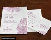 Chandra Letterpress or Digital Wedding Invitations - Set of 100