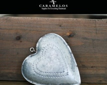 Puffy Galvanized Metal Tin Heart with Punched Center Heart Ornament