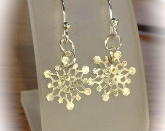 Winter Love . . . Fine Silver Snow Flake Earrings