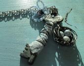 Woodland Flower and nest Skeleton key necklace fairy magic beaded lace key