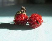 Miniature Woodland Magic Pomegranate Earrings wirewrapped pomegranate sculpture
