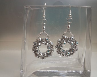 Silver Czech Crystal/Seed Bead Ring Earrings