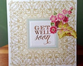 Get well floral pop-up card with cup of tea - flowers and tea cup inside