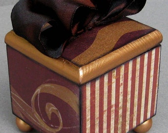 Bronze Gold Stripe Swirl Keepsake Trinkt Lift Top Decorative Box