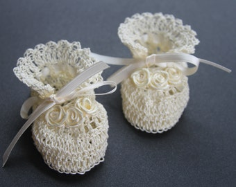 Crochet Baby Booties Newborn Girl Crib Shoes Baptismal Baby Booties Christening Baby Crib Shoes Crochet Reborn Shoes Knit Doll Booties White