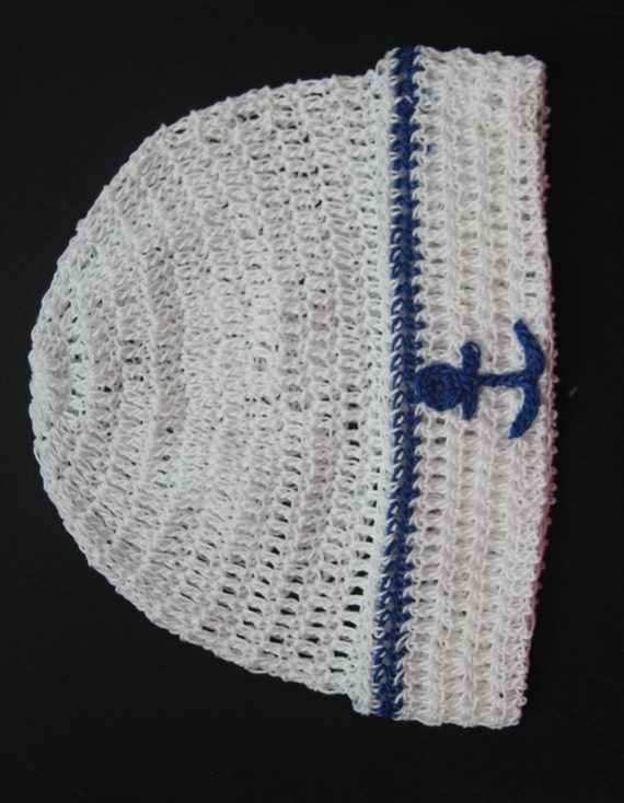 Free Knitting Pattern Baby Sailor Hat : Crochet Newborn Baby Sailor Hat Infant Knit Hat Handmade Baby