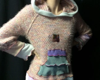 Sweater Upcycled Pastel Sherbert Tones Hoodie Repurposed Recycled Hippie Boho Fantasy Pixie Wearable Fiber Art Woman Appliqué Hoodie OOAK