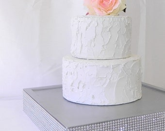 Cake Stand + Silver Cake Stand trimmed with a rhinestone wrap (14 x 14x2.5)