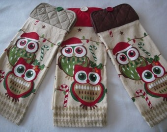 Hanging Kitchen Towels - Christmas Owls - Set of 2