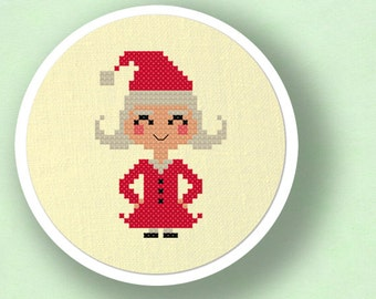 Mrs. Santa Claus. Christmas Holiday Modern Simple Cute Counted Cross Stitch PDF Pattern. Instant Download