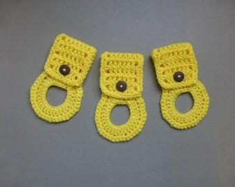 Kitchen Towel Holders , Crochet Towel Hangers, Housewarming Gift, Home Decor,Removable, Yellow