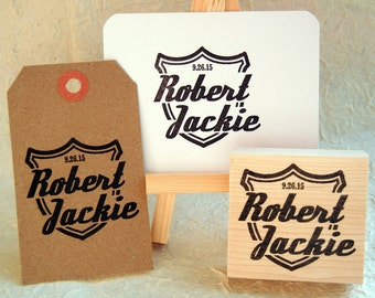Custom Save the Date Wedding Rubber Stamp /  Retro Badge Shield Style Rubber Stamp Handmade by Blossom Stamps
