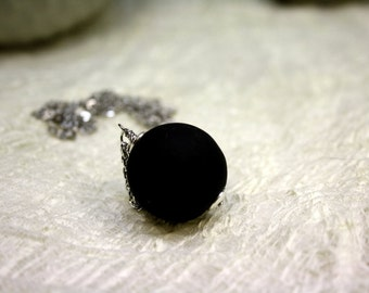 Necklace glass bead. black, glass, round, lampwork, silver, pendant, black necklace necklace glass