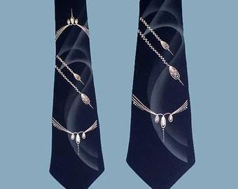 Vintage 50s Midnight Navy Hand Painted Modern Tie
