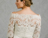 Bianca | off the shoulder French Lace bolero with button back