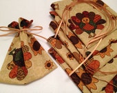 Mini Gift Bags, Favor Bags, Cloth Bags, Gift Wrap, Product Supply Bags, Soap Bags, Thanksgiving, Turkey, Sunflowers, Novelty Pouch, Dinner