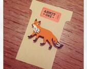 """Handmade wooden """"Fox"""" brooch"""