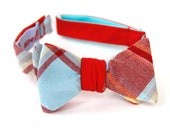 red & turquoise freestyle bow tie for the little guy