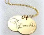 Name Necklace in Gold - Hand Stamped Double Disc Pendants on Gold Chain