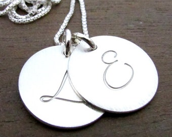 Silver Initial Necklace | Gold Initial Necklace | Choose Metal Two Charm Necklace | Gold FIlled 14K GF Pendant, Chain | Lyla E. Ria Designs