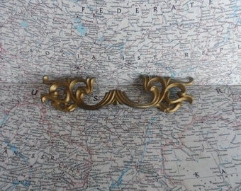 SALE! wide ornate mid century French Provincial brass metal handle