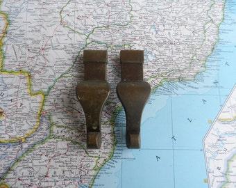 SALE! 2 vintage curvy vertical brass metal handles