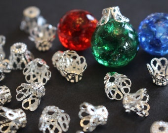 20 Silver Plated Iron Bead Bell Caps Filigree Flower Findings
