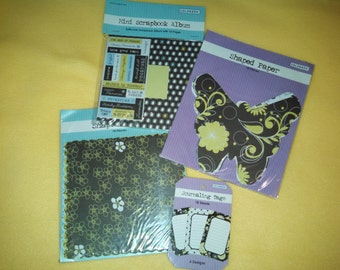 Mini Scrapbook Album, stickers, diecuts, tags - lime green