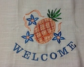 Welcome Pineapple Embroidered Kitchen Saying  Huck Towel
