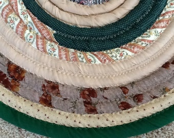 Rug, Throw Rug, Circle Rug, Cotton Rug, Coiled Fabric Round Rug, 24 inch in diameter