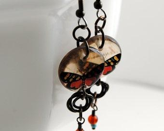 amber  butterfly earrings, resin earrings, brass earrings, gifts for her, gifts under 20