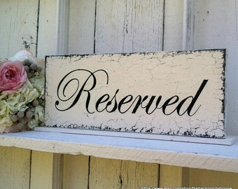 RESERVED SIGNS, Wedding Table Signs, Reserved for Bride's Family, Reserved for Groom's Family, 4 3/4 x 12
