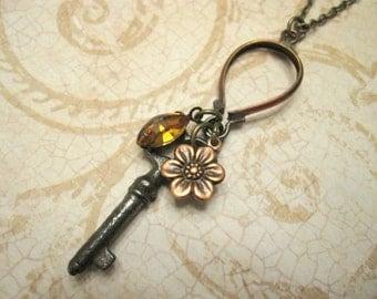 Key Charm Necklace, Vintage Key, Swarovski Crystal, Amber, Flower Charm, Nature Inspired, Woodland, Bohemian, Rustic, Upcycled, OOAK