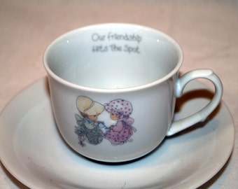 Precious Moments Our Friendship Hits The Spot set of 4 Cups and Saucers