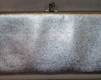 Vintage 1960s Silver Lame' Prom Evening Bag Purse Mad Men by Harry Levine clutch