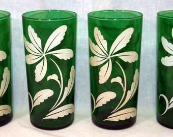 Set of 4 Anchor Hocking Forest Green Tumblers with White Flowers