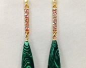 Stunning Long Stained Green Wooden Teardrop and Rhinestone Earrings. Pierced, Bling