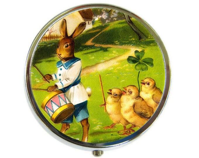 Rabbit drummer Pill Box Stash Case Silver Medicine Case