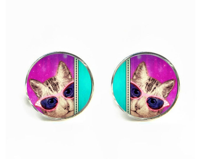 Cat's on Catnip small post stud earrings Stainless steel hypoallergenic 12mm Gifts for her