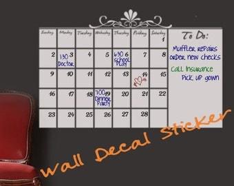 "White Dry Erase Wall Calendar  Wall Sticker Calendar Vinyl Decal,  23"" X 38"" , Memo Board organizer for schedules / Wall decal sticker"