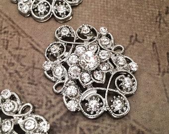 5 Rhinestone brooches, Vintage inspired rhinestone brooch, crystal brooch. Wedding brooch, bridal brooch, wedding embellishment