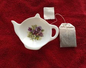 "Ceramic Teabag Holder Pansy Purple 4.5"""