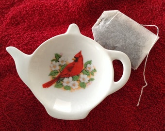 Ceramic Teabag Holder 4.5 With Red Cardinal  Sitting in branch of flowers
