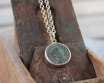 Ancient Roman coin statement necklace for Women & Men, Authentic antique roman coin pendant on a silver chain