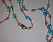 Vintage Extra Long Czech Necklace Pink and Blue Crystal Beads 1920s Flapper